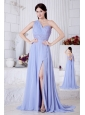 Lilac Empire One Shoulder Prom / Evening Dress Watteau Train Chiffon Beading
