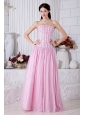 Baby Pink Empire Strapless Prom Dress Tulle Beading Floor-length