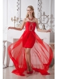 Red Column Strapless Prom / Homecoming Dress Beading High-low Chiffon