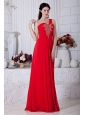 Red Empire One Shoulder Prom / Evening Dress Chiffon Beading Floor-length