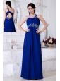 Royal Blue Empire One Shoulder Prom / Evening Dress Chiffon Appliques Floor-length
