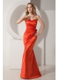 Rust Red Mermaid Spaghetti Straps Ruch and Hand Made Flower Prom Dress Floor-length Satin