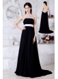 Sexy Black and White Strapless Prom / Evening Dress Brush Train Chiffon Beading