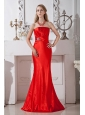Simple Red Strapless Floor-length Prom Dress Ruch and Beading Taffeta