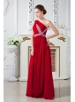 2013 Wine Red Empire One Shoulder Ruch and Beading Prom Dress Brush Train Chiffon