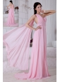 2013 Rose Pink Empire One Shoulder Beading Prom / Evening Dress Watteau Train Chiffon