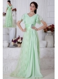 Apple Green Empire V-neck Beading Prom / Evening Dress Brush Train Chiffon