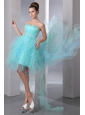 Aqua Blue A-line Sweetheart Prom Dress Asymmetrical Organza Beading