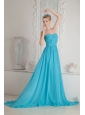 Baby Blue A-line Sweetheart Ruch Prom Dress Court Train Chiffon