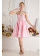 Baby Pink A-line Sweetheart Short Prom Dress Taffeta Beading Knee-length