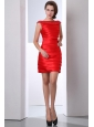 Beautiful Red Junior Prom Dress Column Bateau Mini-length