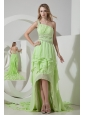 Beautiful Light Green One Shoulder Prom Dress High-low