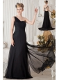 Black Column One Shoulder Prom Dress Brush Train Chiffon Ruch and Beading