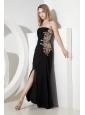 Black Empire Strapless Prom Dress Chiffon Apliques Ankle-length
