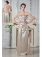 Champagne Empire Prom Dress Sweetheart Floor-length Chiffon Ruch and Beading