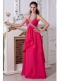 Hot Pink Empire Halter Top Chiffon Prom Dress with Beading
