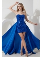 Detachable Royal Blue Prom Dress Mini-length Sequin