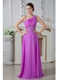 Fuchsia Column One Shoulder Prom Dress Chiffon Ruch and Beading Floor-length