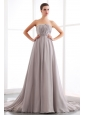 Grey A-line Strapless Beading Prom Dress Court Train Chiffon