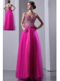 Fuchsia A-line Sweetheart Prom Dress Elastic Wove Satin and Organza Beading Floor-length