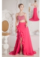 Coral Red Prom Dress Empire Beading Straps Court Train Chiffon