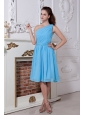 Junior Sky Blue Prom Dress Princess One Shoulder Knee-length Chiffon