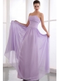 Lavender Empire Strapless Prom Dress Chiffon Beading
