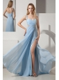 Light Blue Prom Dress Empire One Shoulder Brush Train Chiffon and Elastic Woven Satin Beading and Ruch