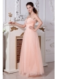 Light Peach Prom Dress  Empire Sweetheart Tulle Beading
