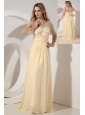 Light Yellow Empire Scoop Beading Prom Dress Brush Train Chiffon