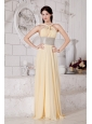 Light Yellow V-neck Chiffon Prom / Evening Dress With Silver Belt