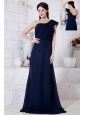 Navy Blue Empire One Shoulder Ruch Prom / Evening Dress Brush Train Chiffon