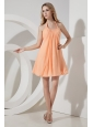 Orange Junior Prom Dress Ruch A-line / Princess Halter Mini-length Chiffon