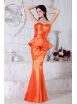 Orange Red Mermaid Sweetheart Ruch Prom / Evening Dress Floor-length Taffeta