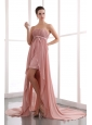 Peach Column Strapless Prom Dress Court Train Chiffon Beading