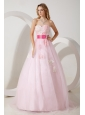 Baby Pink A-line Sweetheart Prom / Evening Dress Tulle Appliques Floor-length