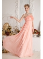 Watermelon Empire Strapless Ruch Prom Dress Floor-length Chiffon