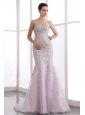 Baby Pink Mermaid Straps Prom Dress Brush Train Organza Beading