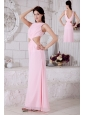 Baby Pink Prom / Evening Dress Empire Bateau Ankle-length Chiffon