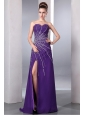 Purple Column Sweetheart Prom Dress Chiffon Beading Floor-length