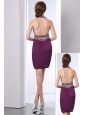 Dark Purple Prom Dress Column Halter Mini-length Taffeta Beading