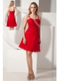 Red A-line Spaghetti Straps Prom / Homecoming Dress Knee-length Beading Chiffon