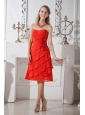 Red A-line Sweetheart Prom / Homecoming Dress Chiffon Hand Made Flowers Knee-length