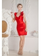 Red Column Halter Short Prom Dress Satin Ruch Mini-length