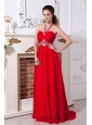 Red Empire Halter Prom Dress Brush Train Chiffon Beading