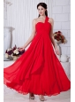 Red Empire One Shoulder Ruch Prom / Evening Dress Ankle-length Chiffon