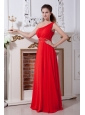 Red Junior Prom Dress Empire One Shoulder Paillettes Floor-length Chiffon