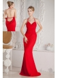Red Mermaid Halter Ruch and Beading Prom Dress Floor-length Chiffon