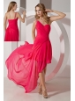 Hot Pink One Shoulder High-low Prom Dress Chiffon Beading