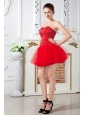 Red Prom Dress A-line Sweetheart Mini-length Tulle Beading